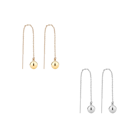 The Sahara - Gold Ball Thread earring - Gold, Silver >>
