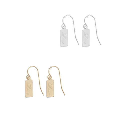 Love Mini Tag earring - Gold, Silver >>