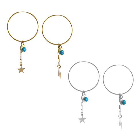 Star and Lightening Bolt Mis-Matched Charm Earrings- Gold, Silver >>