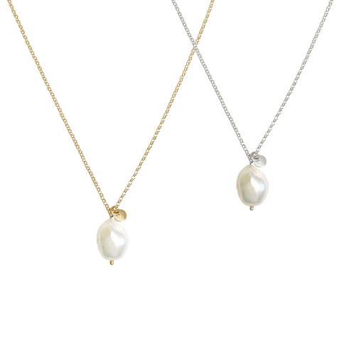 Tess Baroque Pearl necklace - Gold, Silver, Rose Gold >>