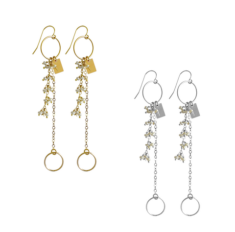 Baby Pearl and Charm Earrings - Gold, Silver >>