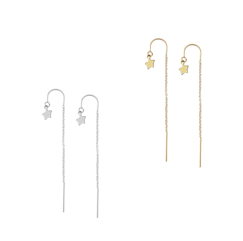 Ear Threads with Mini Star - Gold or silver >>