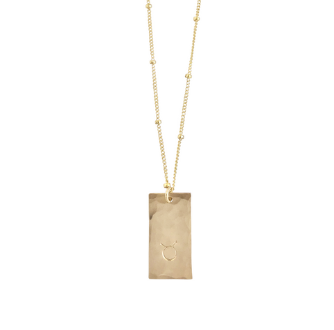 Zodiac Tag Necklace -  TAURUS - Apr 21 - May 21 - Gold, Silver, Rose Gold >>