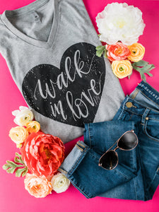 Hand Lettered Christian Tshirt - Walk in Love Dark Heather Gray Tee