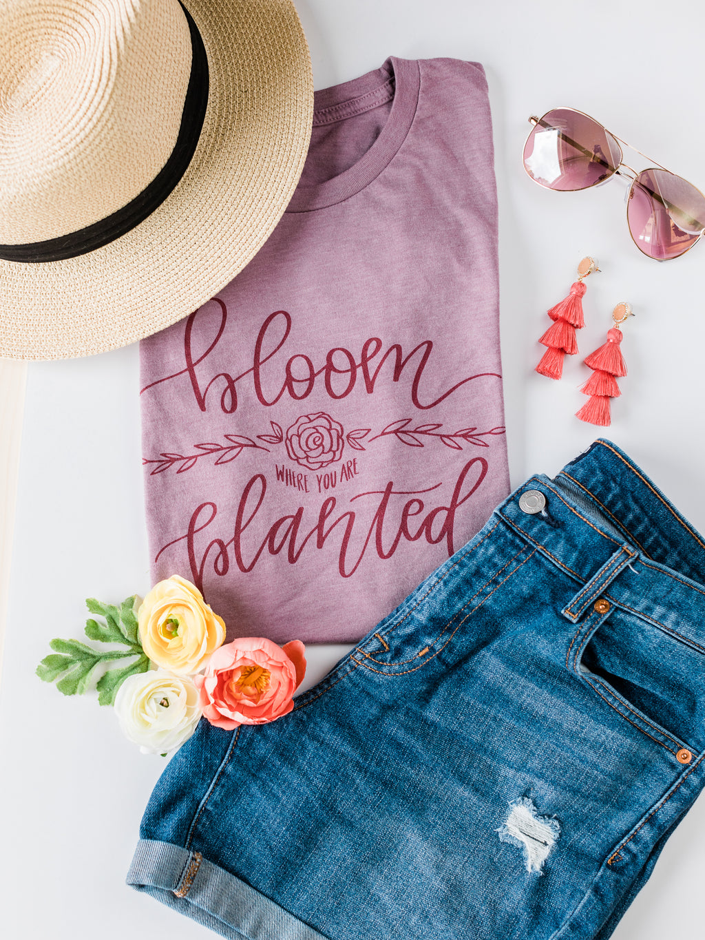 Hand Lettered Christian Tshirt - Bloom Where You are Planted Orchid Tee