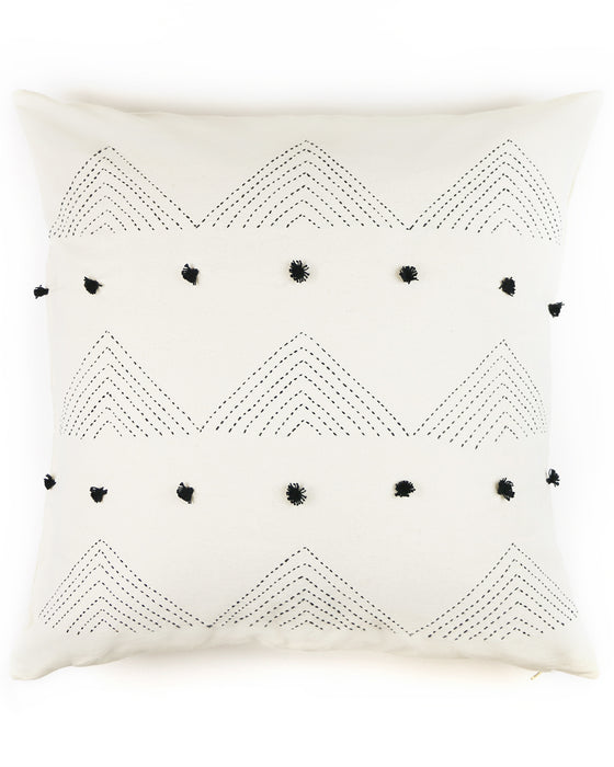 "Embellished Black Triangle Embroidered 22""x22"" Pillow Cover 