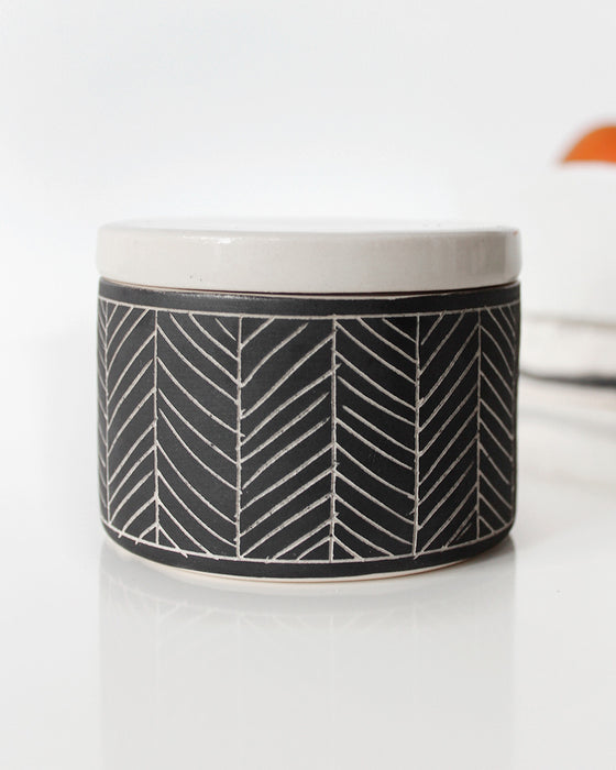 Charcoal Gray Herringbone Salt Cellar | Elizabeth Benotti