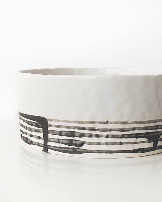 White & Black Lines Large Serving Bowl | Elizabeth Benotti