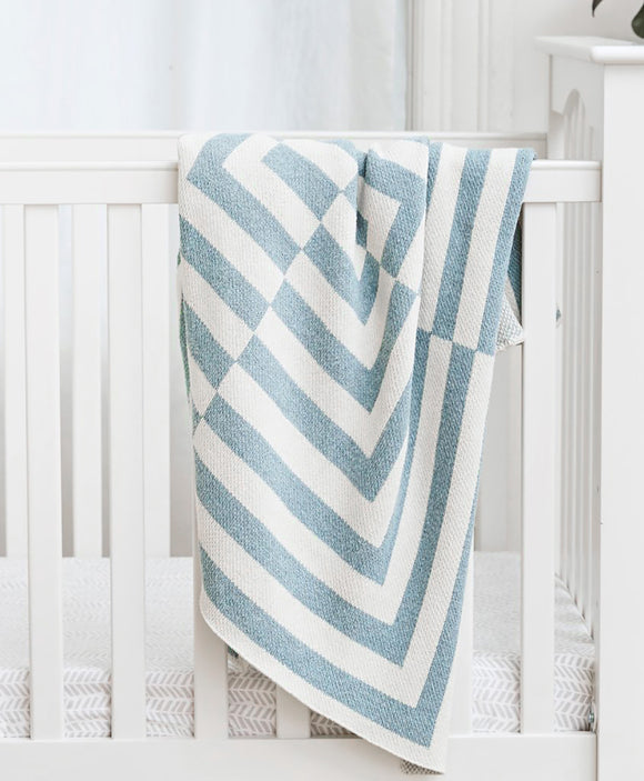 Light Blue & White Aquino Patterned Baby Blanket | Savannah Hayes
