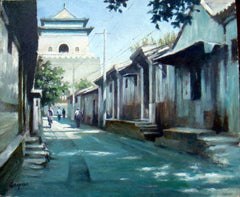Academic,Beijing,Hu Tong,Traditional Culture,Bell Tower,Oil Painting