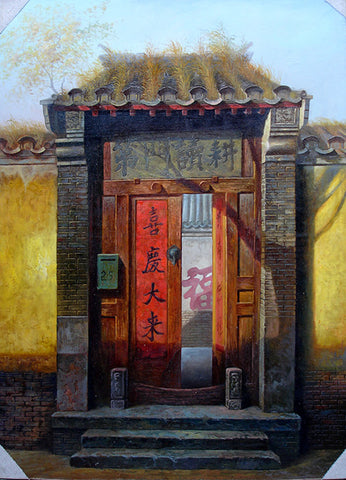 Oil Painting,Traditional Culture,Countyard Life,Hu Tong Home Door No.2