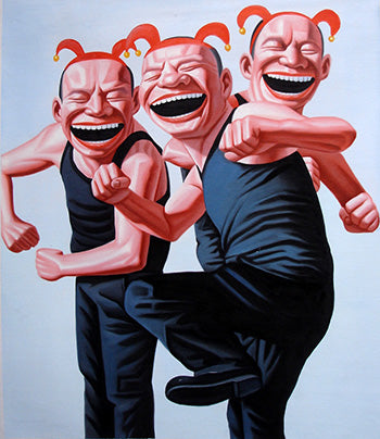 Contemporary Art,Humor,Smile Face,Kung Fu,Mickey,Oil Painting