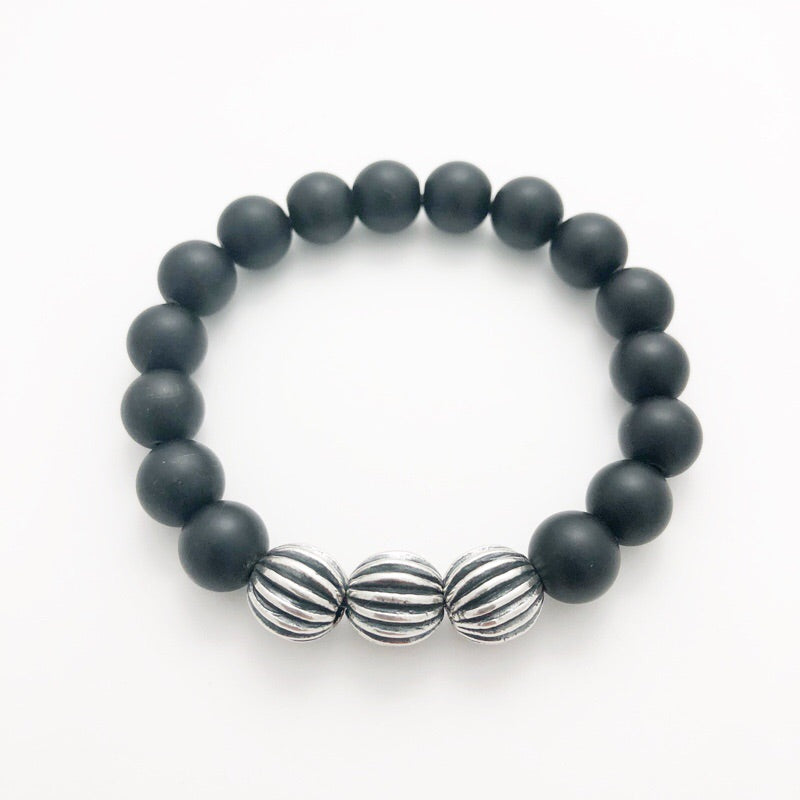 Frosted Obsidian Stretchie with Bali Silver Beads