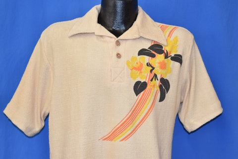 70s Terry Cloth Floral Beach Polo Shirt Medium