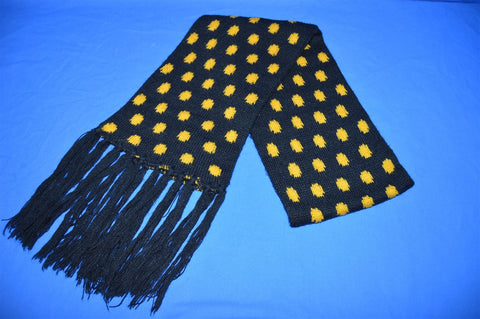80s Black Yellow Polka Dots Winter Scarf