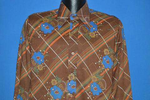 70s Blue And Brown Flower Disco Shirt Small