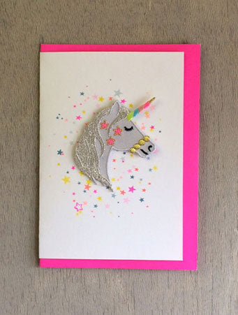 Unicorn Head Iron-on Patch Card
