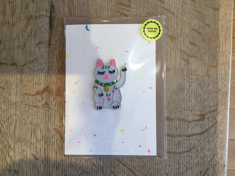 Waving Cat Iron-on Patch Card