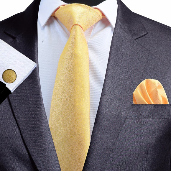 8 cm Yellow Jacquard Silk Necktie plus Handkerchief & Cufflinks Set
