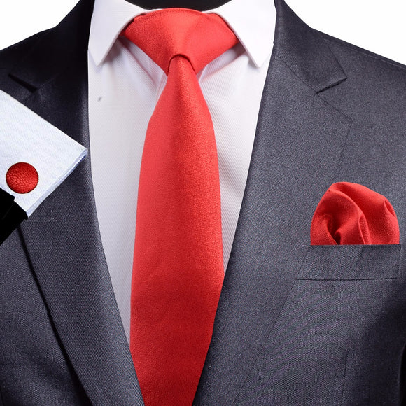8 cm Red Jacquard Silk Necktie plus Handkerchief & Cufflinks Set
