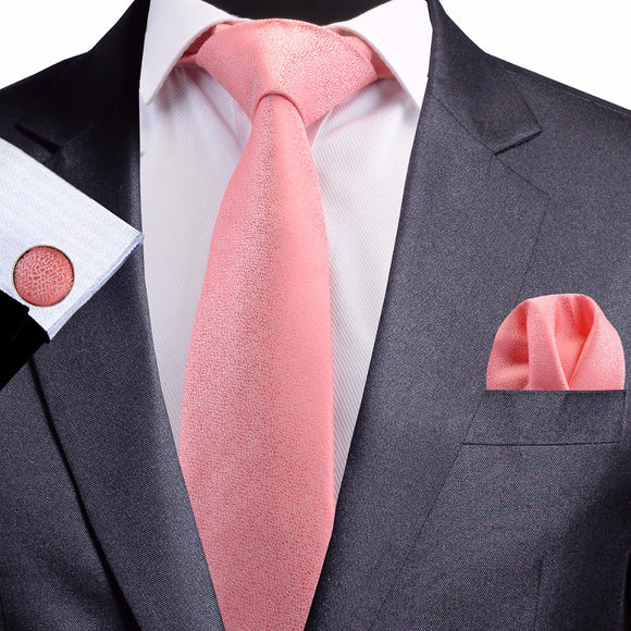 8 cm Pink Jacquard Silk Necktie plus Handkerchief & Cufflinks Set