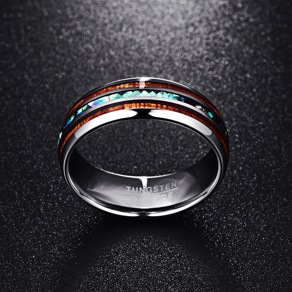 8MM Polished Matte Abalone Shell Tungsten Carbide Ring