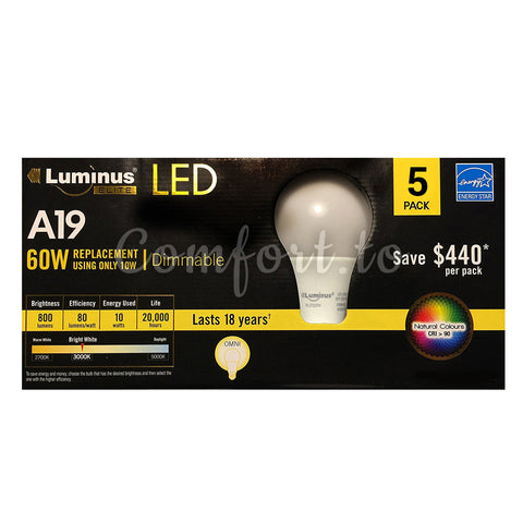 Luminus Dimmable A19 LED 10W 60W Replacement, 4 units
