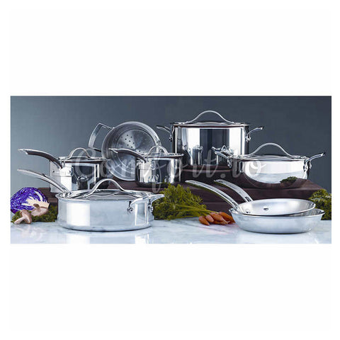 Kirkland Signature 13-Pc Stainless Steel Tri-Ply Clad Cookware, 13 pieces