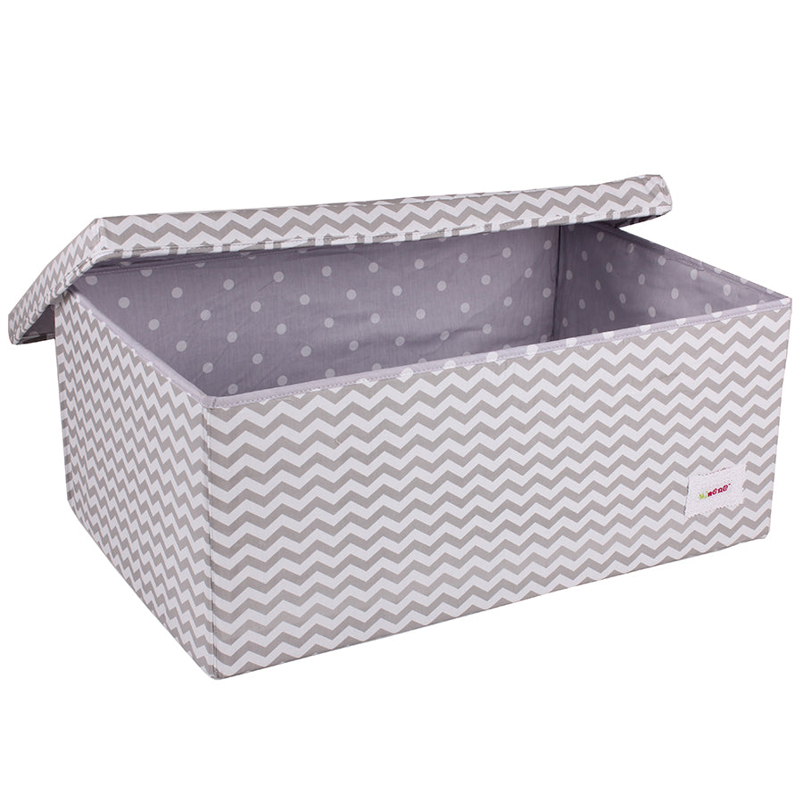 Fabric Storage Box, Large 60*40*25cm Size, Rigid Sides, Grey Fabric with White Chevron Print, Lidded