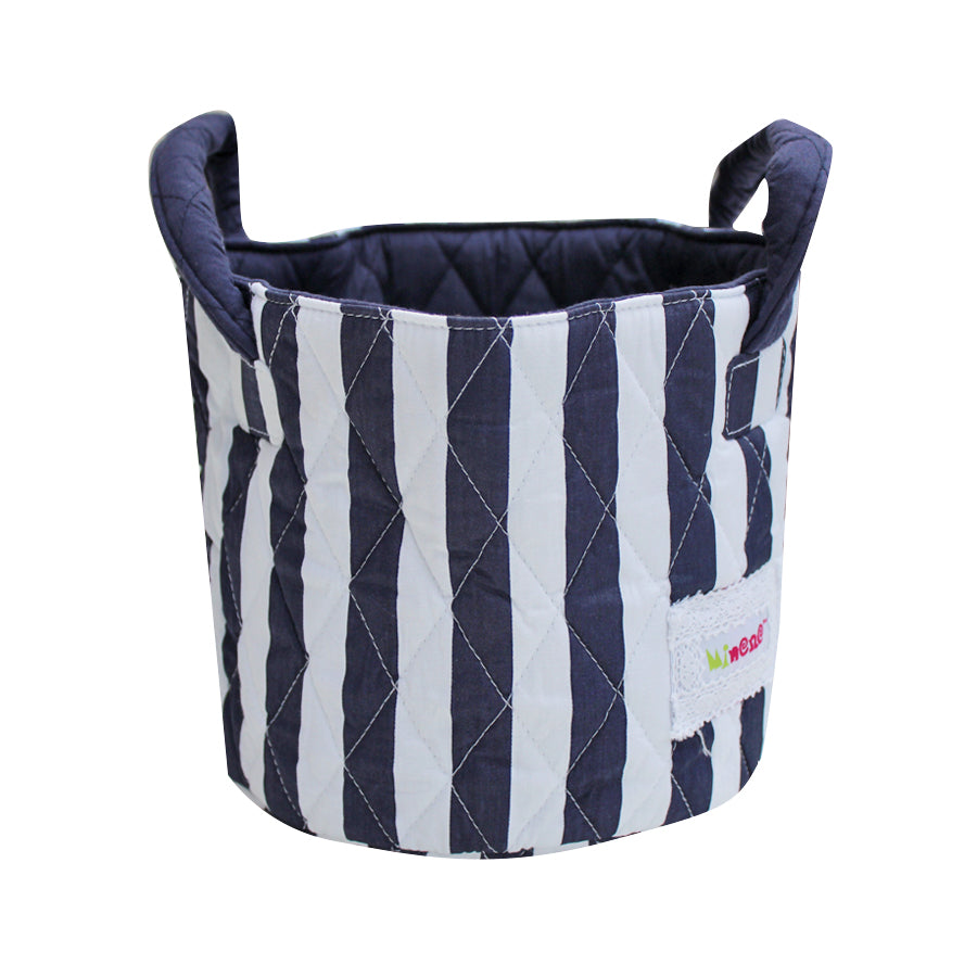 Fabric Storage Basket Small 22*18cm Size, Handles, Blue White Vertical Stripe Fabric