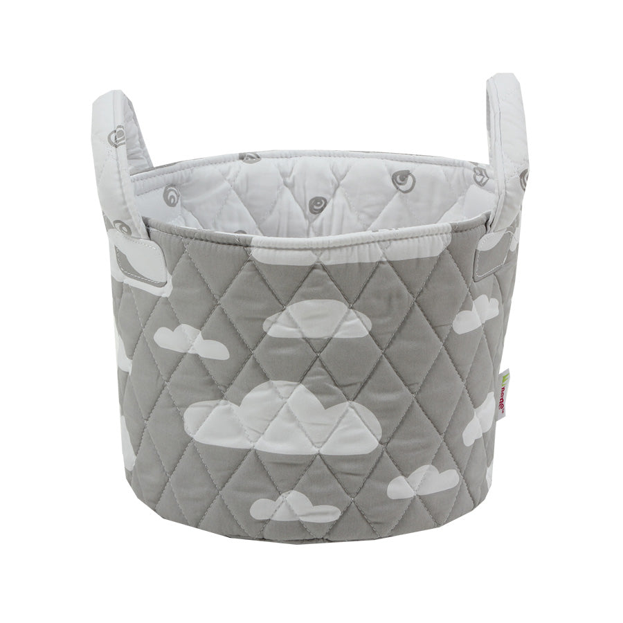Fabric Storage Basket Small 22*18cm Size, Handles, Grey Fabric with White Cloud Print