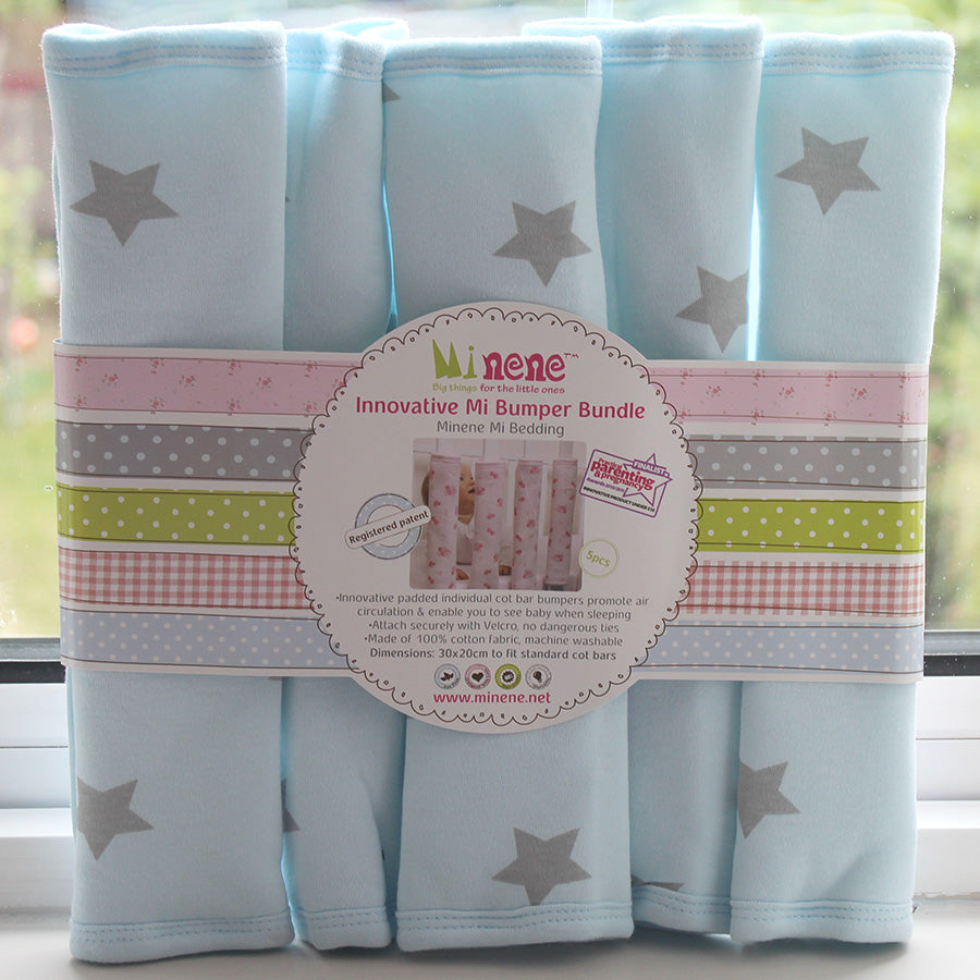 5 Individual Cot Bed Bumpers, Padded, Hook and Loop Tape Fastening, Plain Blue Fabric with Grey Star Print