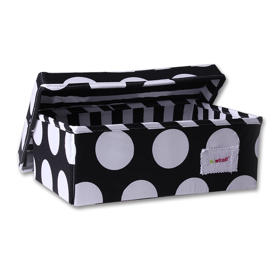 Fabric Storage Box Small 32cm Size, Rigid Sides, Black Fabric with White Circles Print