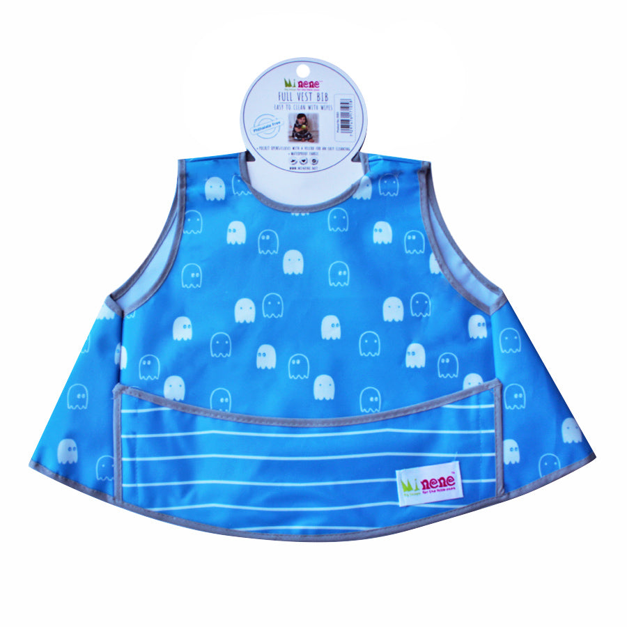Full Vest Bib - Waterproof - Velcro Fastening - Front Pocket -  Blue with White Ghosts Design