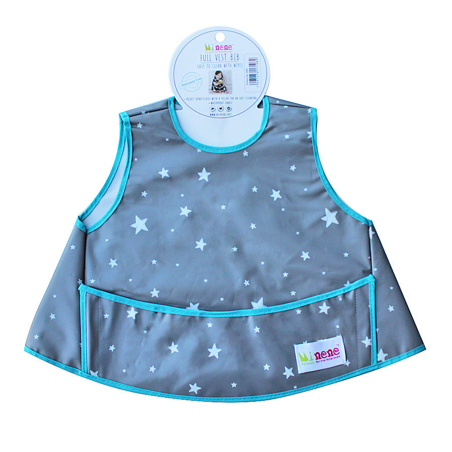 Full Vest Bib - Waterproof - Velcro Fastening - Front Pocket - Grey with White Stars Design
