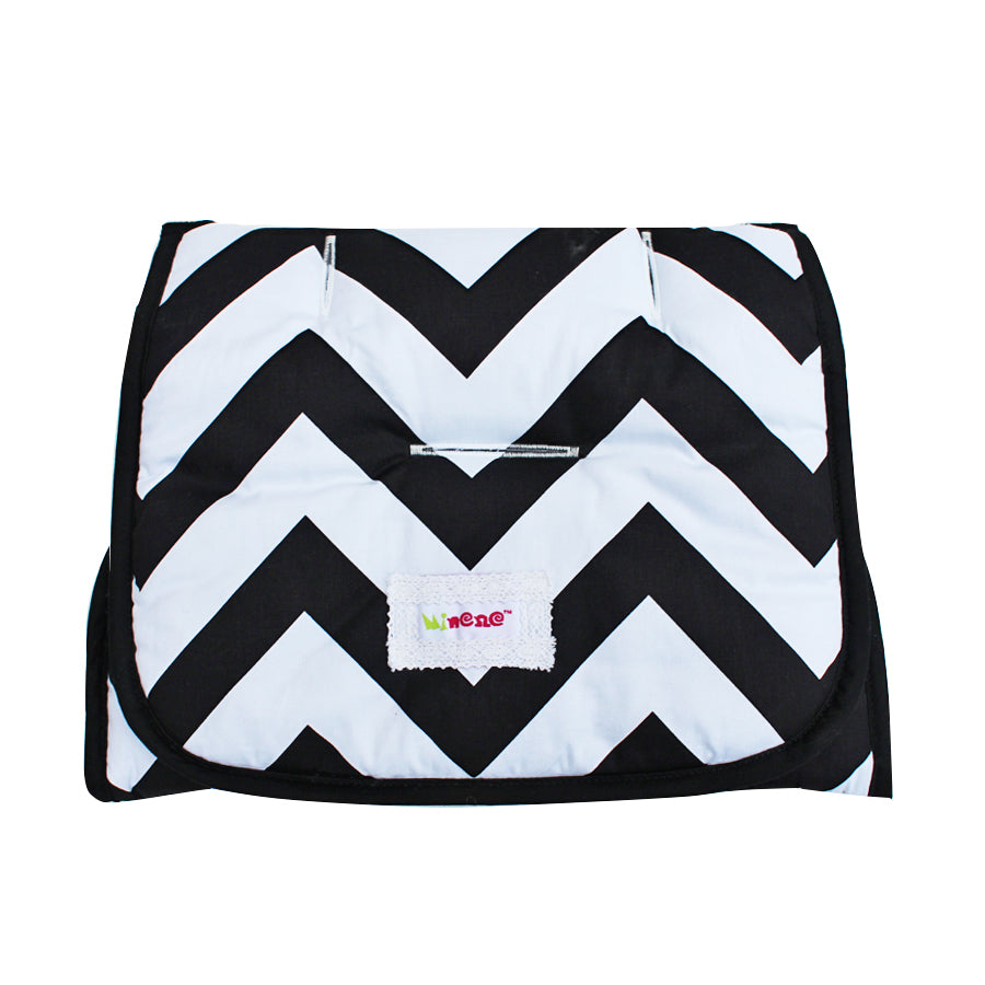 Universal Reversible Pushchair Liner - Black Fabric and White Chevron Print