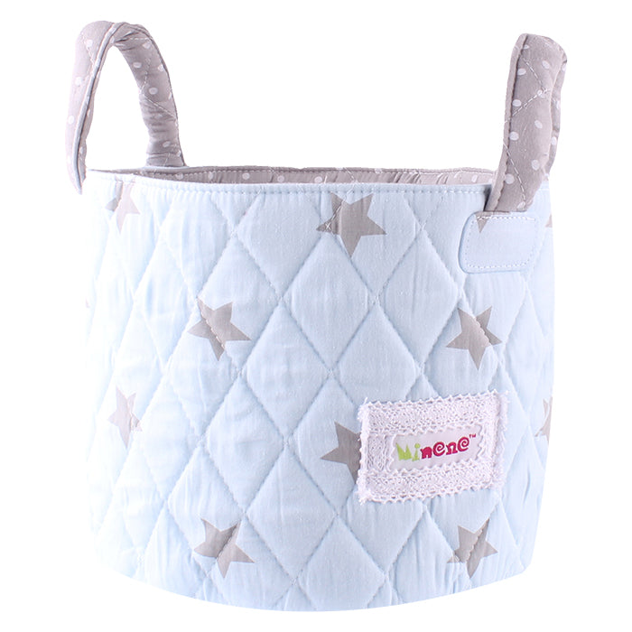 Fabric Storage Basket Small 22*18cm Size, Handles, Light Blue Fabric with Grey Star Print