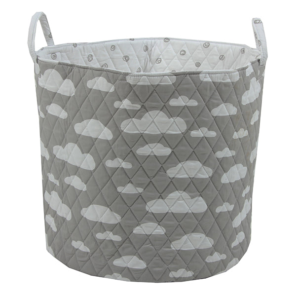 Fabric Storage Basket, Large 44cm Size, Handles, Grey Fabric with White Clouds Print