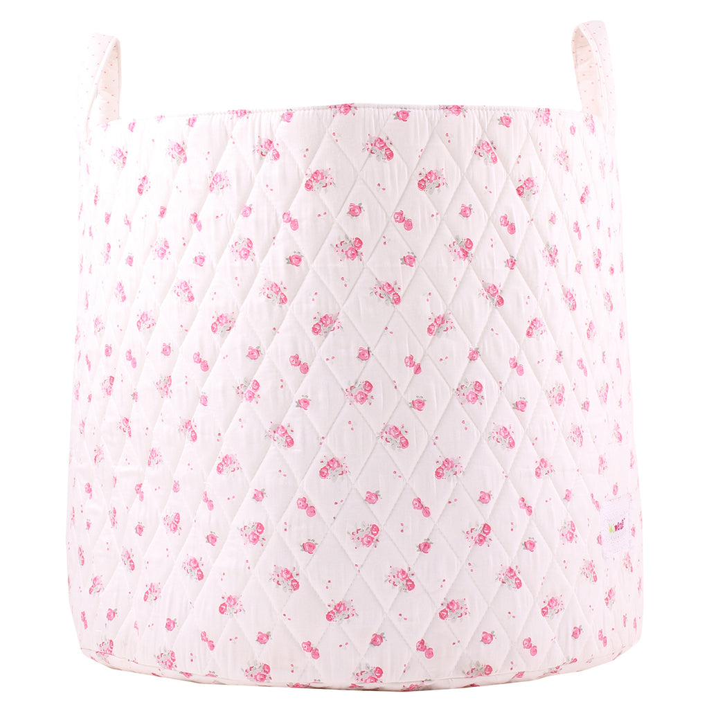 Fabric Storage Basket, Large 44cm Size, Handles, Cream Fabric with Pink Floral Print