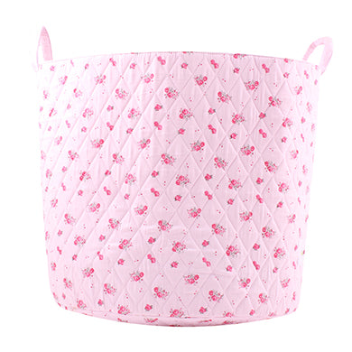Fabric Storage Basket, Large 44cm Size, Handles, Pink Fabric with Pink Floral Print