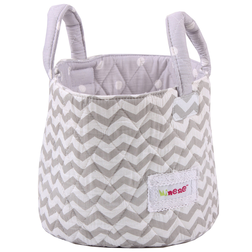 Fabric Storage Basket Small 22*18cm Size, Handles, Grey Fabric with White Chevron Print