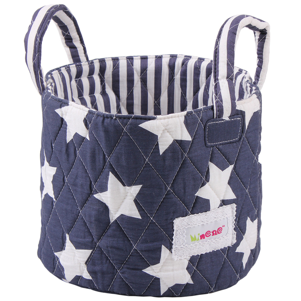 Fabric Storage Basket Small 22*18cm Size, Handles, Black Fabric with White Crosses Print