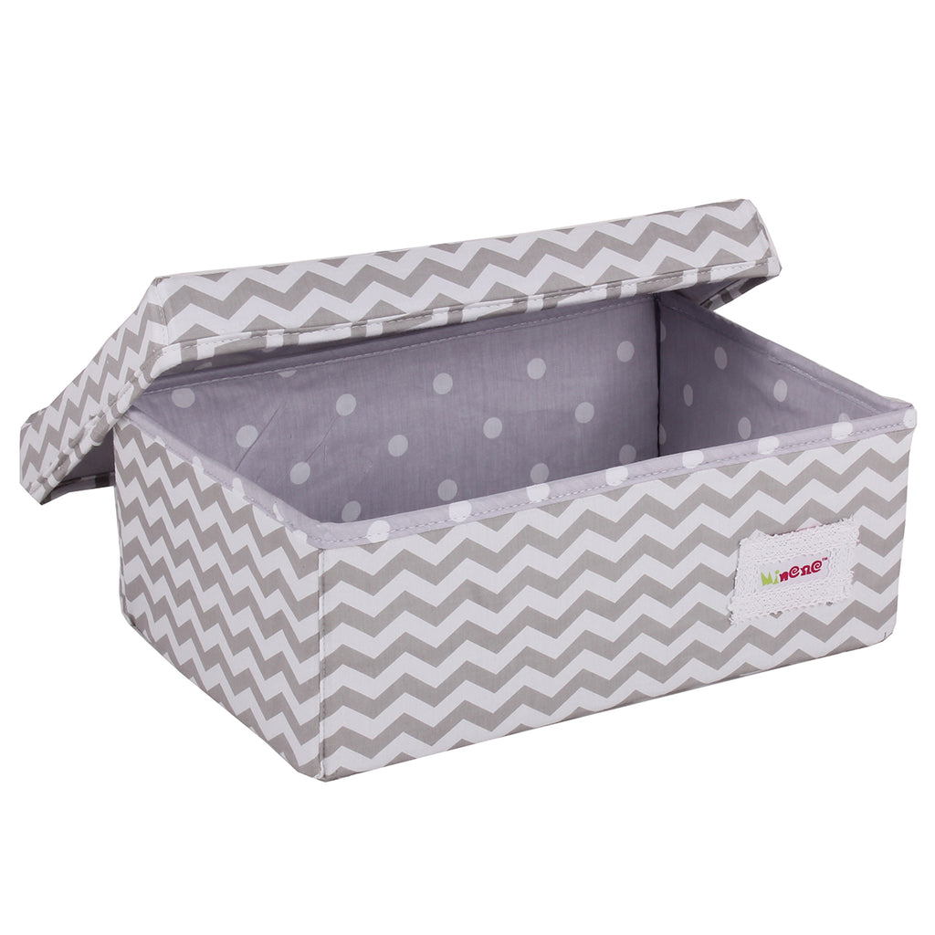 Fabric Storage Box Small 32cm Size, Rigid Sides, Grey Fabric with White Chevron Print