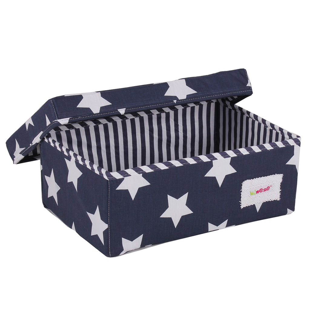 Fabric Storage Box Small 32cm Size, Rigid Sides, Navy Fabric with White Star Print