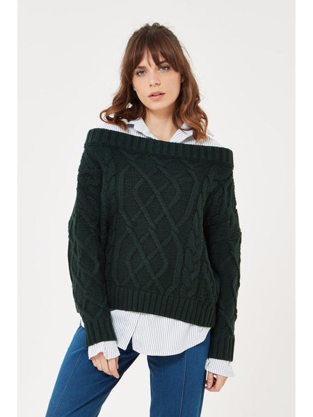 Cable Knit Sweater with Faux Shirt Attached Under Shirt-Sweater-Leggsington