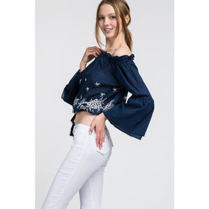 Off The Shoulder Crop Fit With Flower (Colors Watch) - New2Youlx