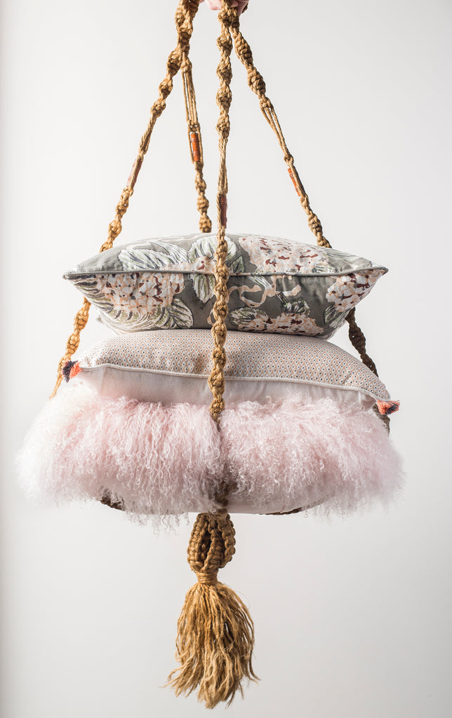 MONGOLIAN FUR, SOFT PINK Pillow