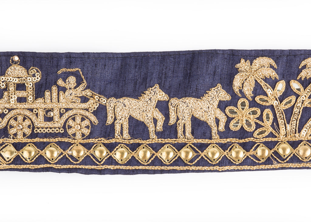 Pyar&Co. Horse and Carriage Trim, Navy & Gold