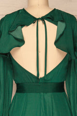 Agyalka Forest Green Satin A-Line Cocktail Dress | La Petite Garçonne