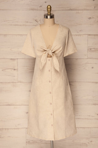 Calhetia Beige Button-Up A-Line Dress | La Petite Garçonne